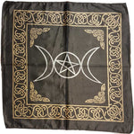 "Triple Moon Pentagram Altar Cloth ~ 18""x18"" Black Rayon"