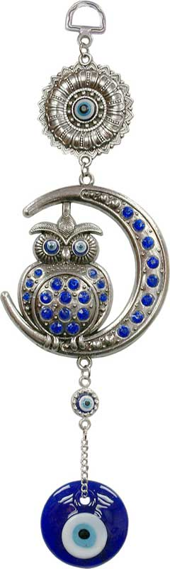 "Owl on Crescent Moon ""Evil Eye"" Protection Wall Hanging"