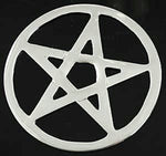 Open Pentagram Altar Tile ~ Silver Plated  2 3/4""