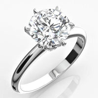 Solitaire Engagement Ring (3.26 ct Round ESI2 EGLUSA Diamond) in Platinum