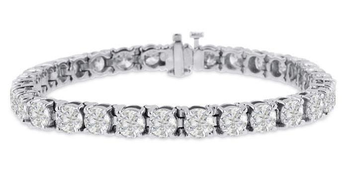 Diamond Tennis Bracelet (26.01 ct Diamonds) in White Gold