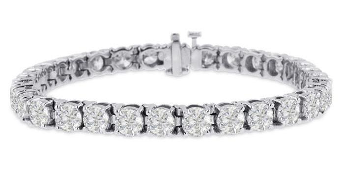 Diamond Tennis Bracelet (15.36 ct Diamonds) in White Gold