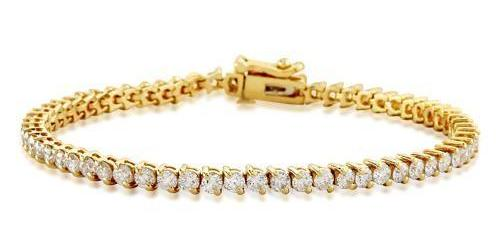 2 Prong Diamond Tennis Bracelet (4.46 ct Diamonds) in Yellow Gold