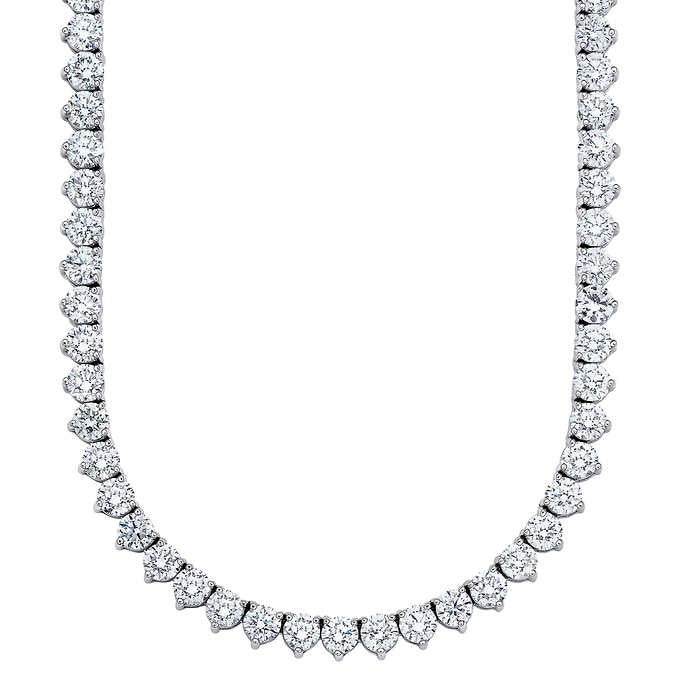 Tennis Necklace (24.96 ct Diamonds) in White Gold