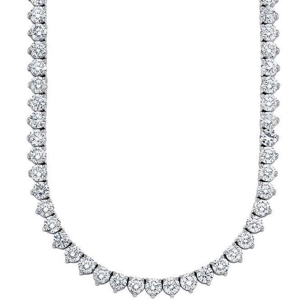 Tennis Necklace (8.15 ct Diamonds) in White Gold