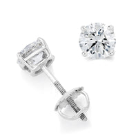 Round Solitaire Diamond Studs (1.70 ct Diamonds) in White Gold
