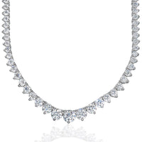 Graduated Necklace (12.16 ct Diamonds) in White Gold