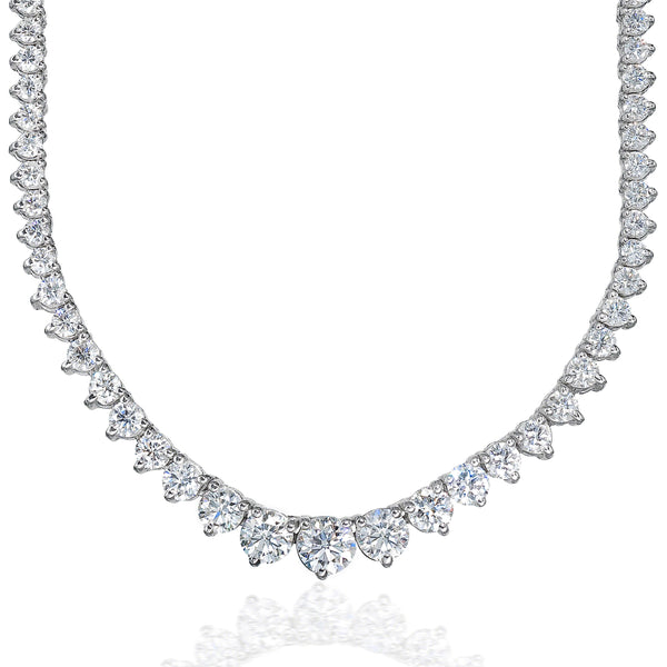 3 Prong Graduated Tennis Necklace (12.16 ct)