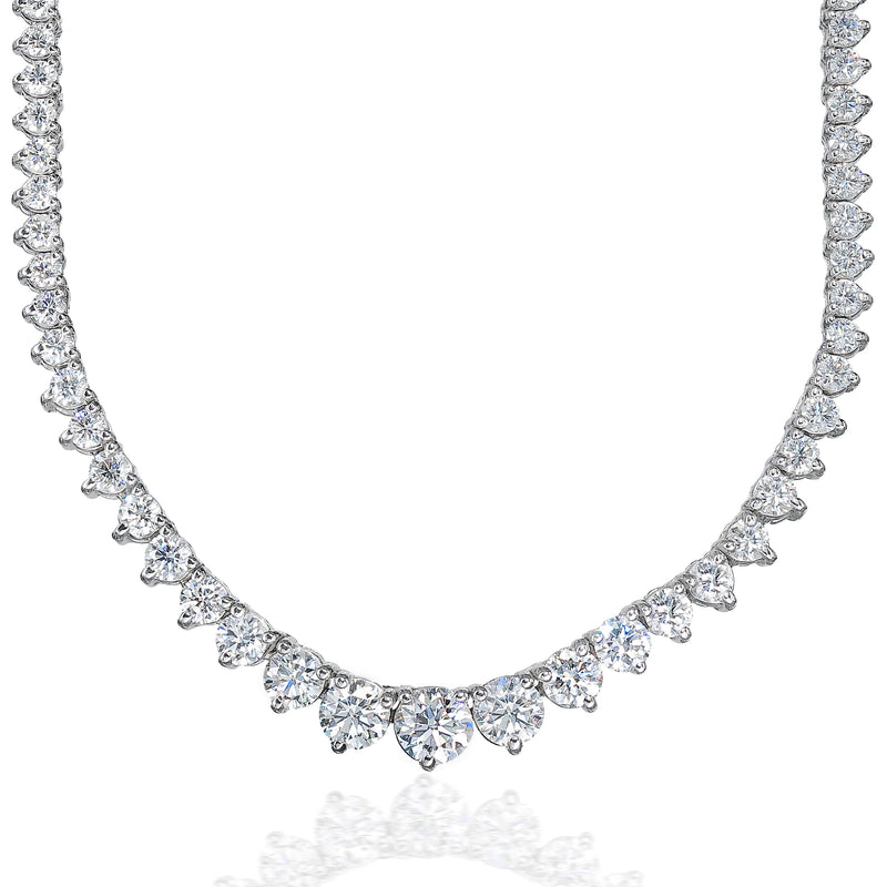 Graduated Necklace (9.65 ct Diamonds) in White Gold
