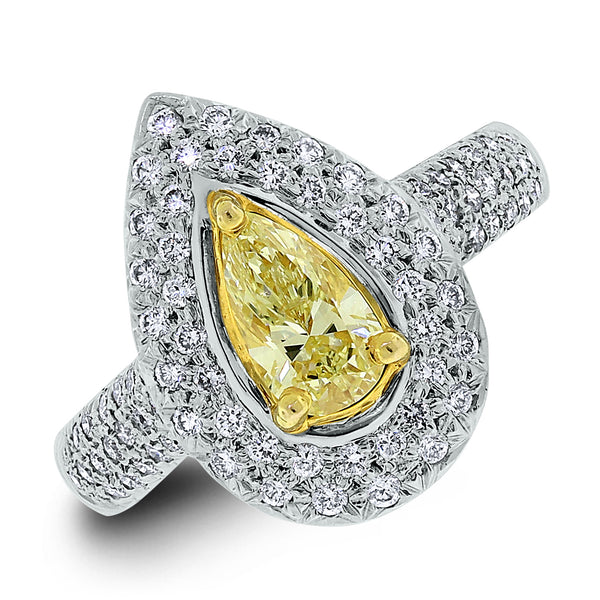 Luz Ring (0.56 ct Pear Shape Fancy Yellow SI2 Diamond) in White Gold