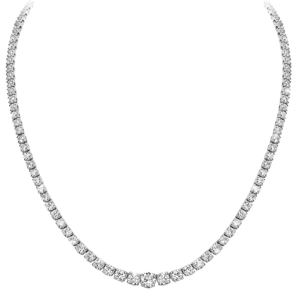 4 Prong Graduated Tennis Necklace (14.40 ct)