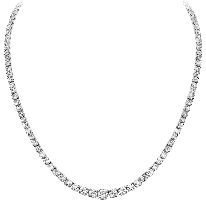 Graduated Necklace (14.40 ct Diamonds) in White Gold