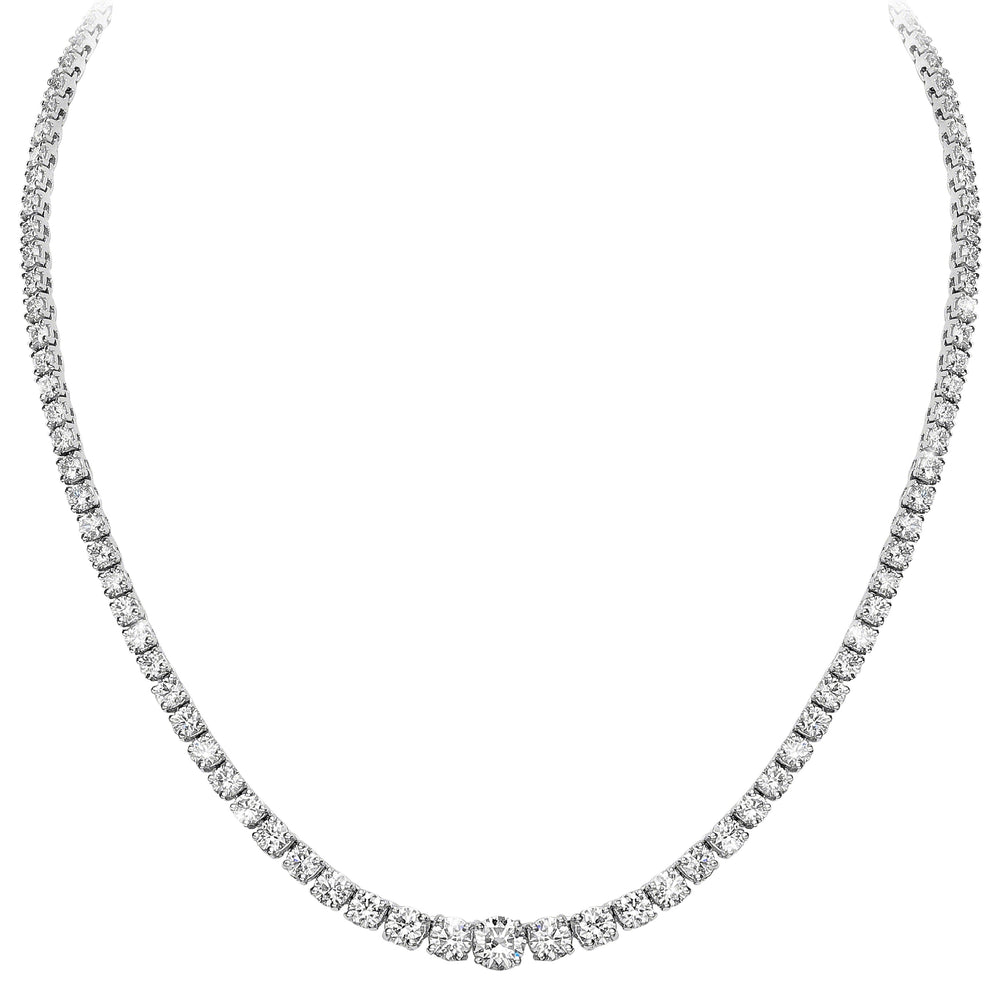 Graduated Necklace (26.65 ct Diamonds) in White Gold