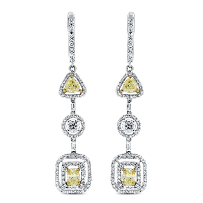 Summer Yellow & White Diamond Earrings (3.47 ct Diamonds) in Gold