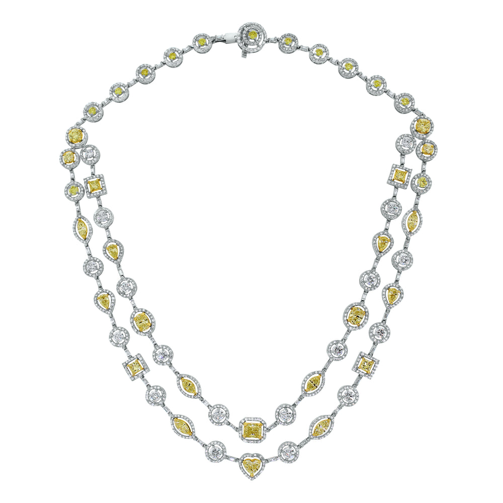 Summer Yellow & White Diamond Necklace (16.54 ct Diamonds) in Gold