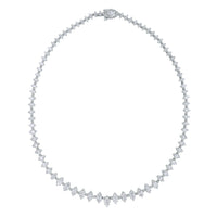 Marquise Diamond Tennis Necklace (9.45 ct Diamonds) in White Gold