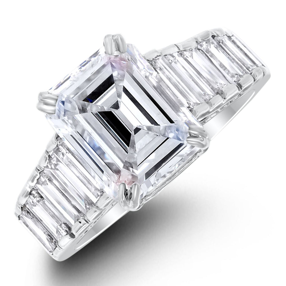 Steps Engagement Ring (3.20 Emerald Cut IVVS2 GIA Diamond) in White Gold