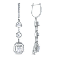 Sansa Solitaire Diamond Earrings (3.41 ct Diamonds) in White Gold