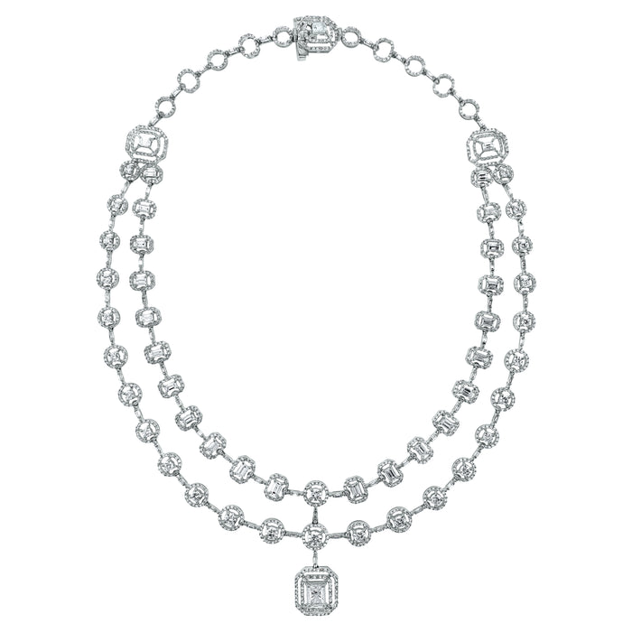 Sansa Solitaire Diamond Necklace (13.21 ct Diamonds) in White Gold