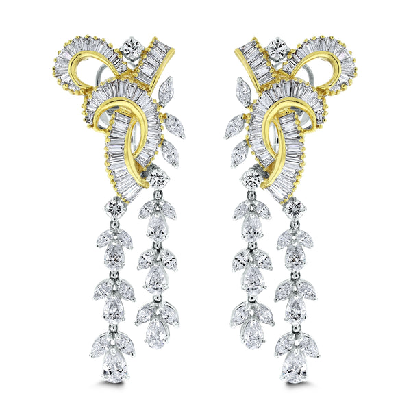 Scintilla Diamond Earrings (8.34 ct Diamonds) in Two Tone Gold
