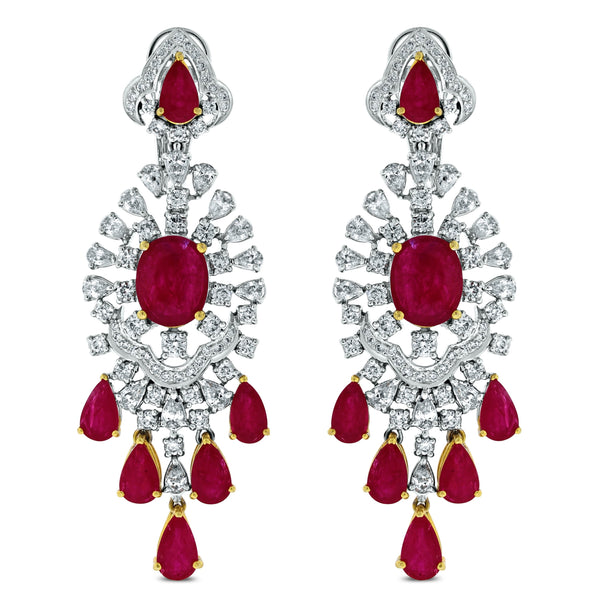 Regalia Ruby & Diamond Earrings (26.24 ct Diamonds & Rubies) in White Gold