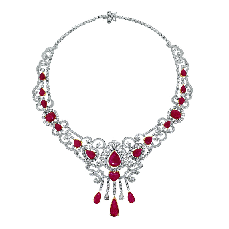 Regalia Ruby & Diamond Necklace (55.81 ct Diamonds & Rubies) in White Gold