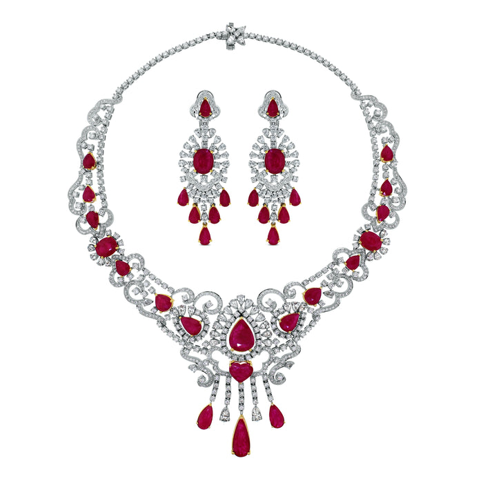 Regalia Ruby & Diamond Suite (82.05 ct Diamonds & Rubies) in White Gold