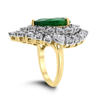 Yana Pear Emerald & Diamond Halo Ring (8.96 cts Emerald & Diamonds) in Gold