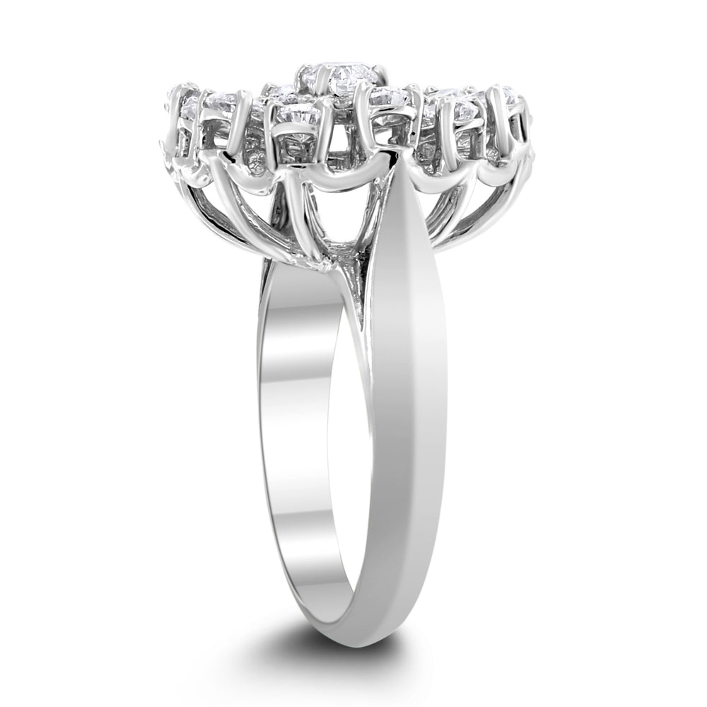 Heart Diamond Ring (1.20 ct Diamonds) in White Gold