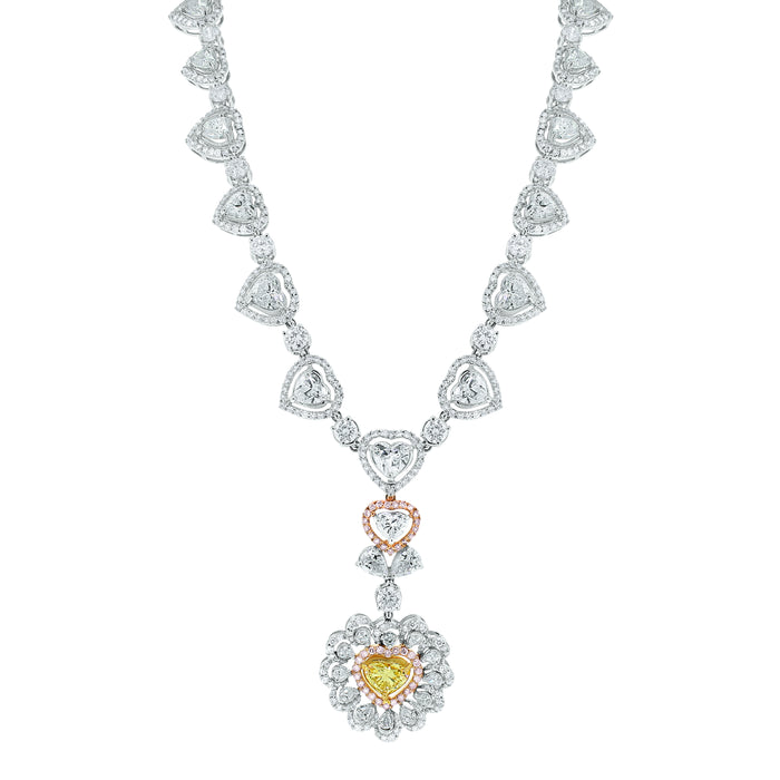 Amore Heart Diamond Necklace (21.95 ct Diamonds) in White Gold