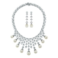 Diamond & Pearl Vines Suite (191.35 ct Pearls & Diamonds) in White Gold