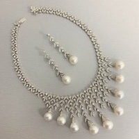 Diamond & Pearl Vines Necklace (156.06 ct Pearls & Diamonds) in White Gold