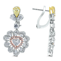 Amore Heart Diamond Earrings (5.61 ct Diamonds ) in White Gold