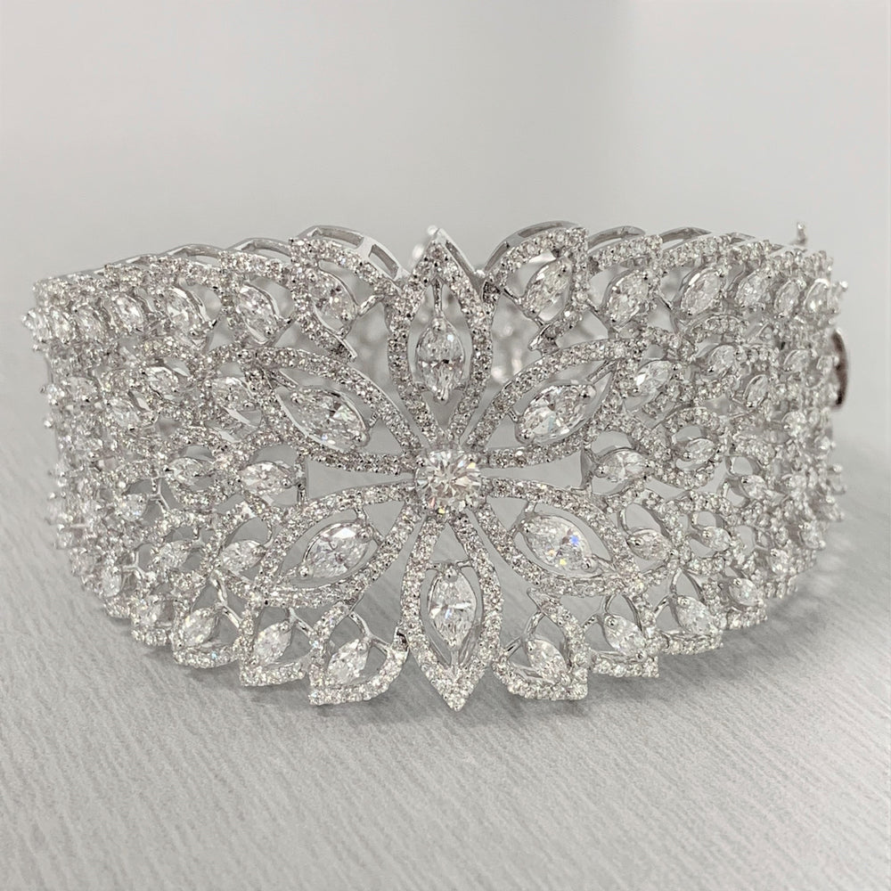 Kamala Diamond Cuff Bangle (7.05 ct Diamonds) in White Gold