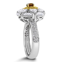 Ballerina Champagne Diamond Ring (2.44 ct Diamonds) in Gold