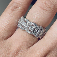 Cushion Cut Halo Eternity Band (3.49 ct Diamonds) in White Gold