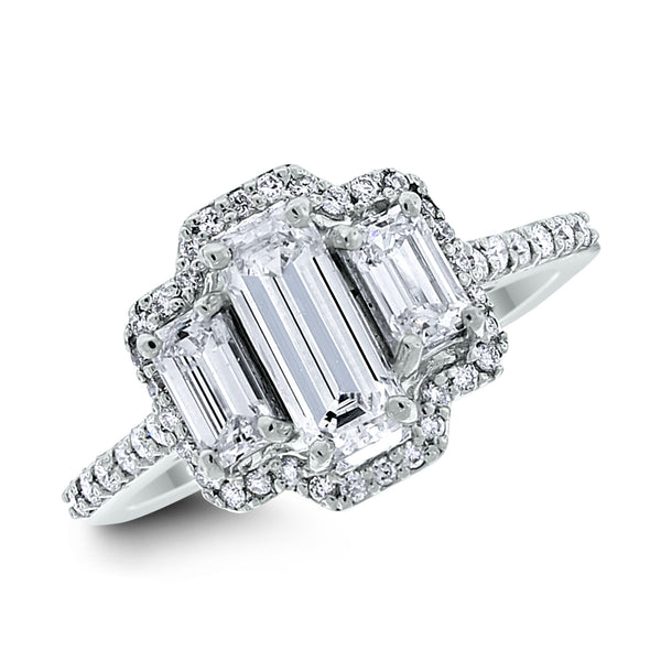 Diana Engagement Ring (0.82 ct Emerald Cut IVVS Diamond) in White Gold
