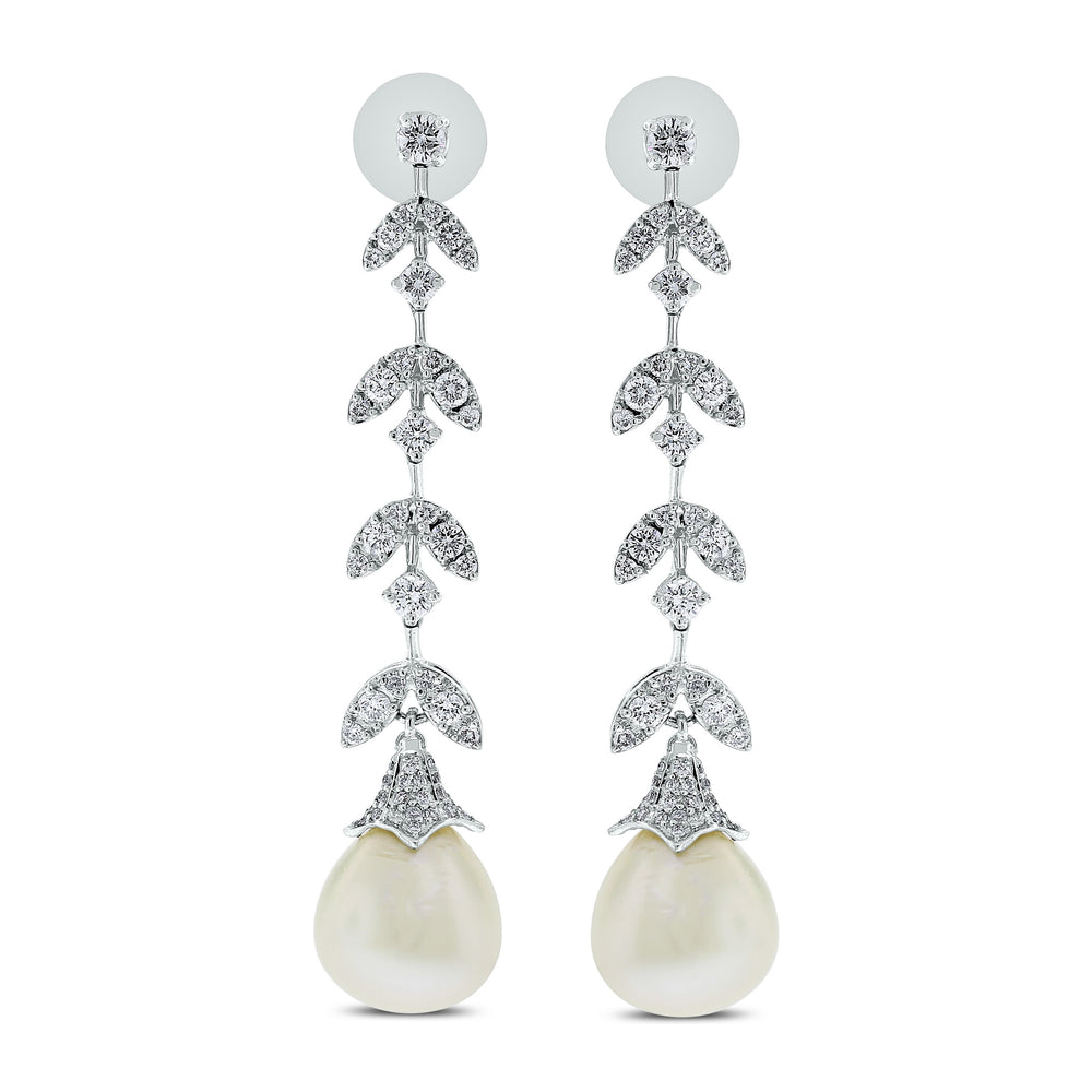 Diamond & Pearl Vines Earrings (35.29 ct Pearls & Diamonds) in White Gold