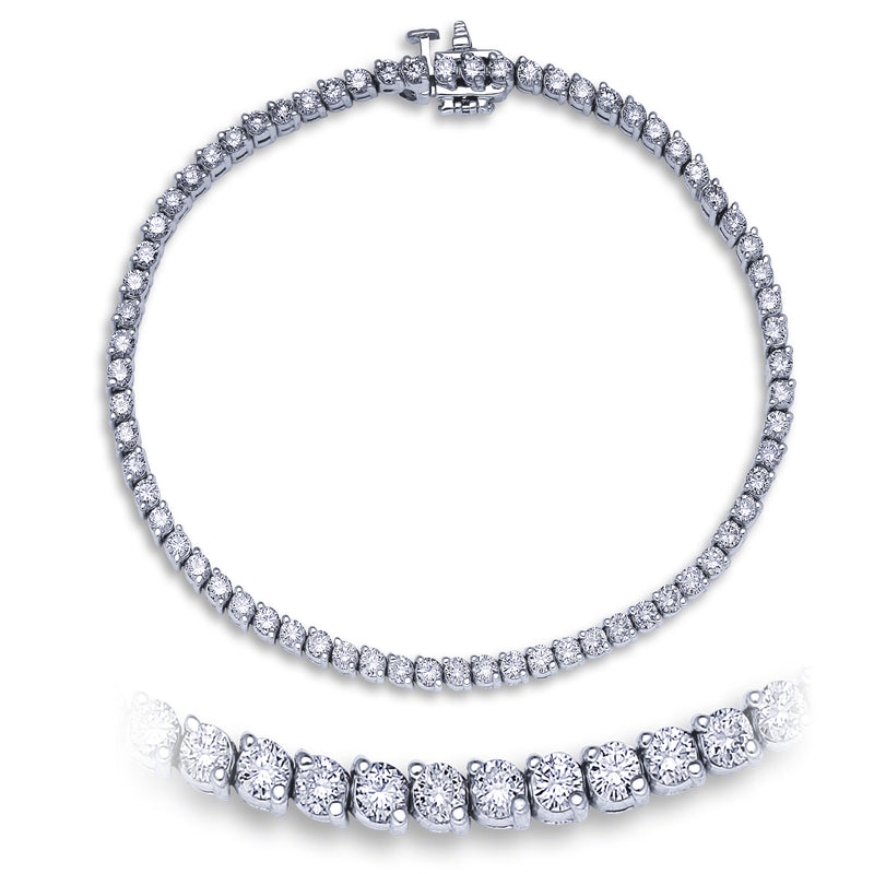 2 Prong Diamond Tennis Bracelet (3.38 ct Diamonds) in White Gold