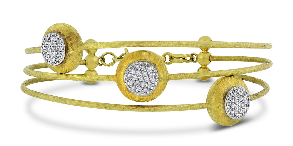Trinity Satin Diamond Bangle (0.43 ct Diamonds) in Yellow Gold