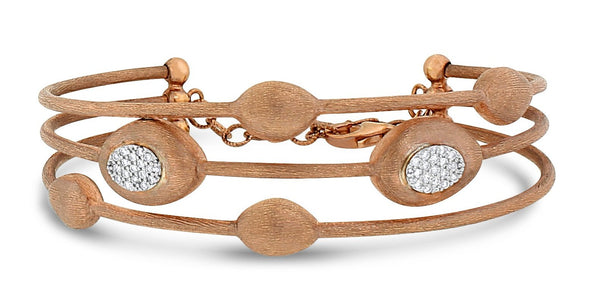 Trinity Satin Diamond Bangle (0.25 ct) in Rose Gold