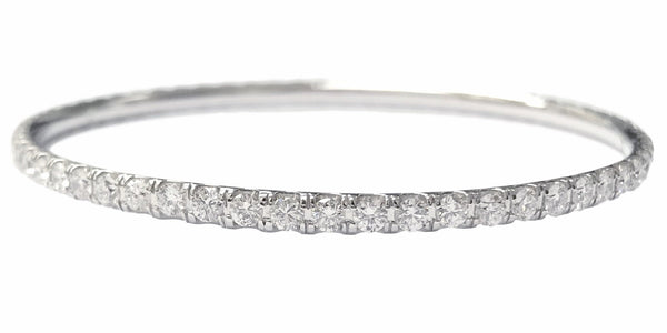 Tennis Diamond Bangle (4.94 ct Diamonds) in White Gold