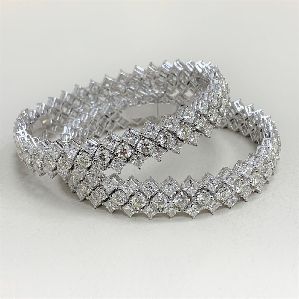 Grandeur Diamond Bangles Set (53.75 ct Diamonds) in White Gold