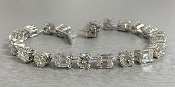 Emerald Cut & Round Diamond Tennis Bracelet (17.90 ct Diamonds) in Platinum