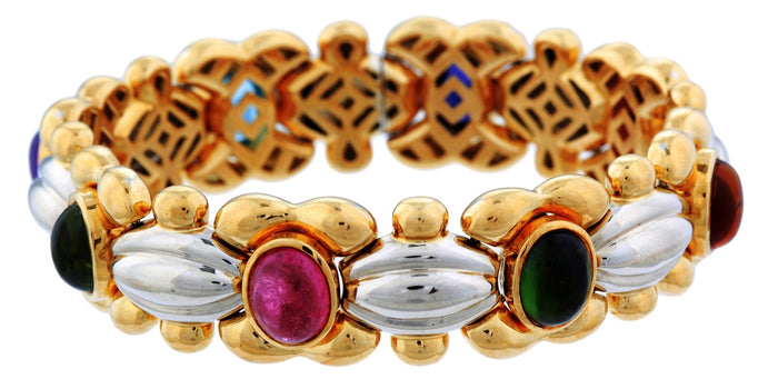 Multicolor Tourmaline Gold Bracelet