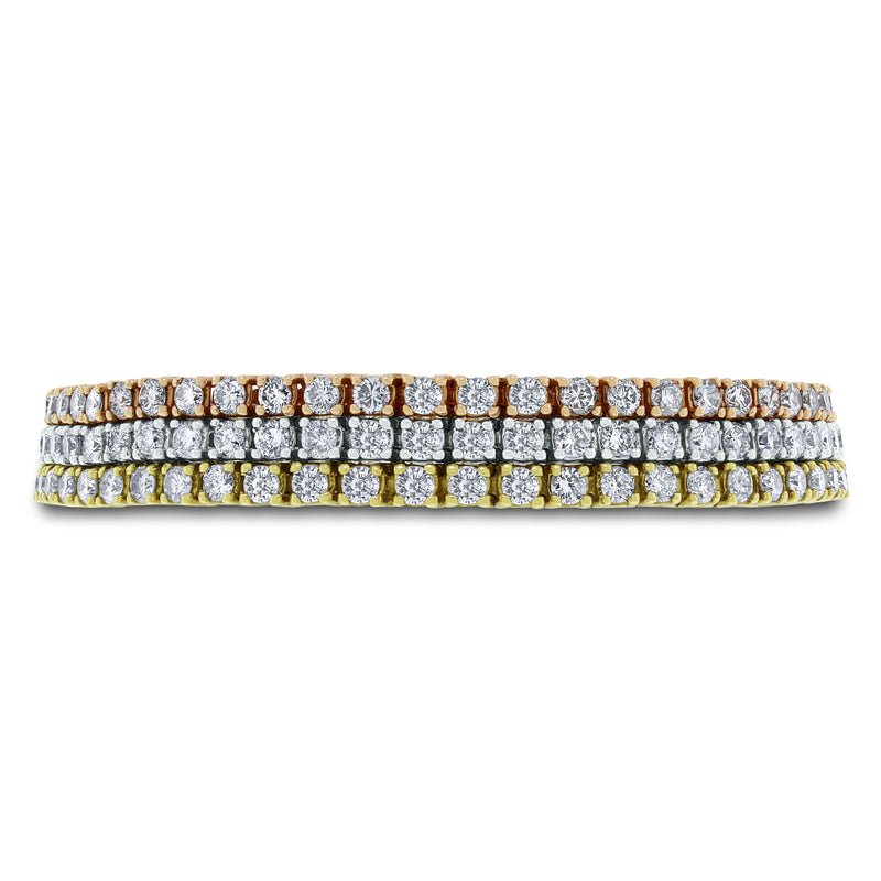 Diamond Tennis Trinity Bracelet (10.53 ct Diamonds) in Gold