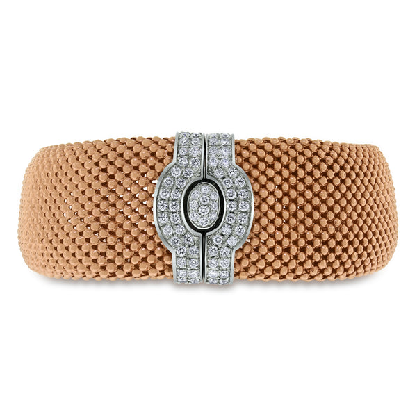 Rose Gold Diamond Lock Broad Bracelet (0.80 ct Diamonds) in Gold