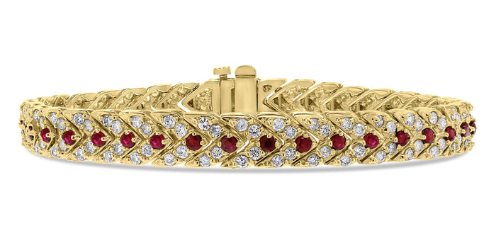 Directions Bracelet (4.38 ct Diamonds & Rubies) in Yellow Gold