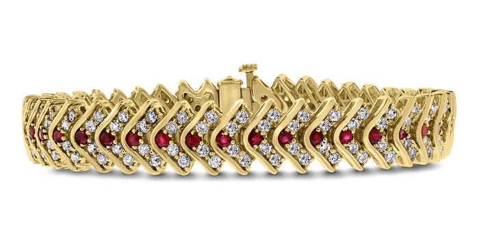 Stories Bracelet (5.82 ct Diamonds & Rubies) in Yellow Gold