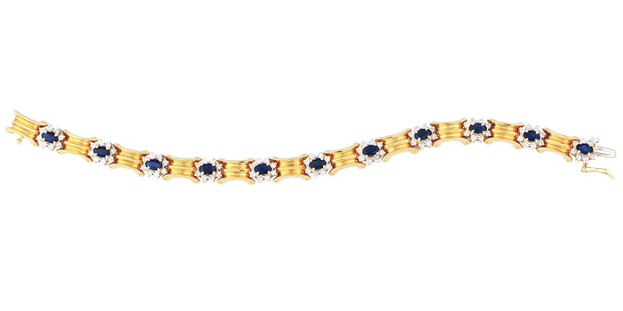 The Greek Diamond & Sapphire Bracelet (5.30 ct Sapphires & Diamonds) in Yellow Gold